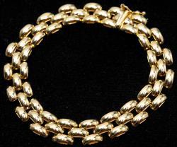 14KT 3 Row Link Bracelet