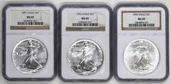 1991 - 1993 Silver Eagles In NGC MS 69 holders