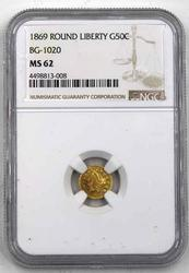 1869 Round Liberty Gold Ca Gold Half MS 62 NGC Holdered