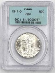 1947 D MS 64 Walking Liberty In AN Old Rattler Holder