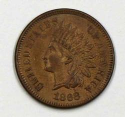 Red Brown BU 1868 Indian Head Cent