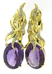Fantastic Oval Amethyst & Diamond Flame Earrings