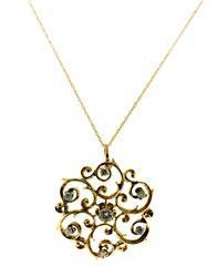 Lovely Vintage Diamond Swirl Pendant Necklace