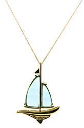 Favorite Fancy Cut Blue Topaz and Diamond Pendant