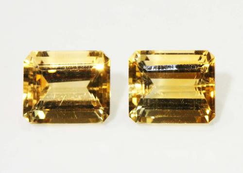 Golden Natural Citrine Pair - 12.94 cts.