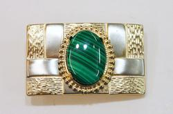 Belt Buckle with Natural Malachite Cabochon