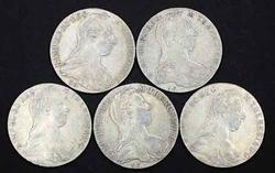 5 Older 1780 Silver Maria Theresa Thalers