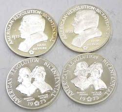 2 Ea Proof Silver Paul Revere &Sam Adams/Patrick Henry Bicentennial Medals