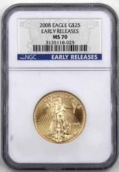 2008 Gold $25 Eagle Early Release NGC MS 70
