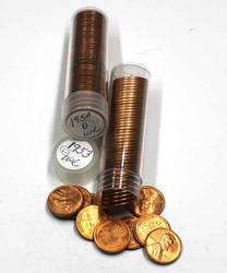 1950 D &1953 Unc Lincoln Rolls in tubes