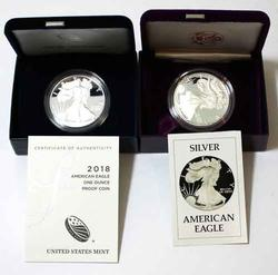 1986 S And 2018 W  Proof Silver Eagles With Boxs and Papers