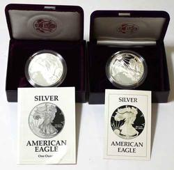 1986 And 1993  Proof Silver Eagles With Boxs and Papers