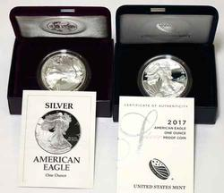1993 And 2017 W  Proof Silver Eagles With Boxs  Papers