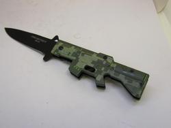 AK-47 Style Marine Camo Spring Assist Knife