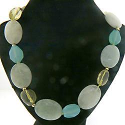 Zoe B Dyed Chalcedony Aquamarine Necklace