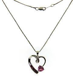 Pink Cubic Zirconia Hear Necklace in Sterling Silver