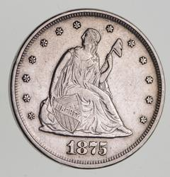 1875 Seated Liberty Silver Twenty-Cent Piece - Near Uncirculated