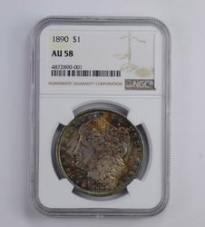 AU58 1890 Morgan Silver Dollar - Rainbow Toned - Graded NGC