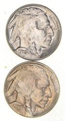 Lot (2) 1935-D & S Indian Head Buffalo Nickels