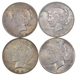 Lot (4) 1934-D Peace Silver Dollars
