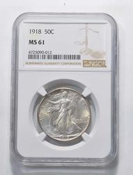 MS61 1918 Walking Liberty Half Dollar - Graded NGC