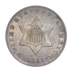 1851 Silver Three Cent Piece