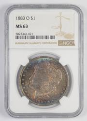 MS63 1883-O Morgan Silver Dollar - AMAZING TONING - Graded NGC