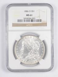 MS61 1886-O Morgan Silver Dollar - Graded NGC