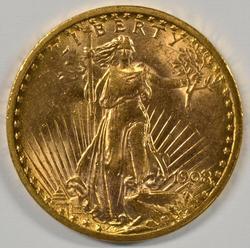 Flashy BU 1908 No Motto St. Gaudens $20 Gold Piece