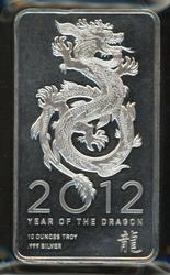 Special Year of the Dragon pure 10 Troy Oz silver bar
