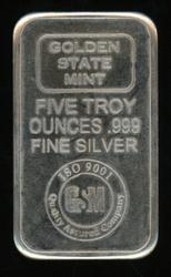 Pure .999 fine silver 5 Troy Oz Golden State Mint Bar