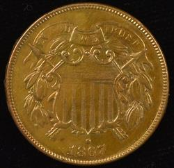 Very pretty 1867 Two Cent Piece in high grade