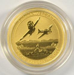 Superb Gem BU 2016 Pearl Harbor pure $15 gold piece
