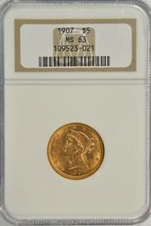 Super Choice BU 1907 US $5 Liberty Gold Piece/ NGC MS63