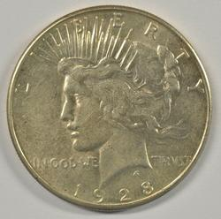 Lovely AU 1928-S Peace Silver Dollar. Better date