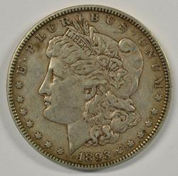 Choice XF45 1893-P Morgan Silver Dollar. Key date