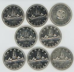 8 Deep Prooflike BU Canadian Silver Dollars 1953-1965