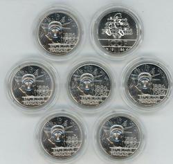 7 Gem BU 1986 France Silver 100 Francs in capsules