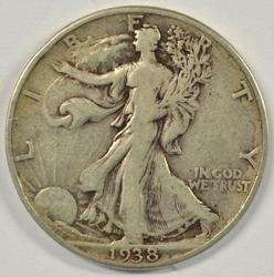 Sharp VF 1938-D Walking Liberty Half Dollar. Key date