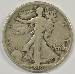 Scarce 1916-P Walking Liberty Half Dollar in Fine