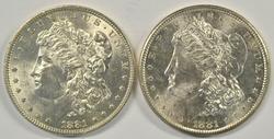 Nice BU 1881-P & 1881-S Morgan Silver Dollars