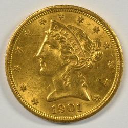 Lovely BU 1901-S US $5 Liberty Gold Piece