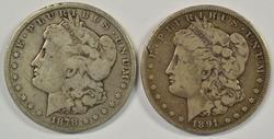 Scarce 1878-CC & 1891-CC Morgan Silver Dollars