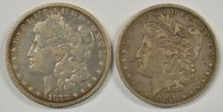 Nice Scarce 1878-CC & 1891-CC Morgan Silver Dollars