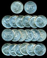 Choice BU Roll of 20 1964 Silver Kennedy Half Dollars