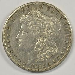Scarcer 1884-S Morgan Silver Dollar in AU