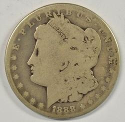 Key date 1888-S Morgan Silver Dollar. Circ