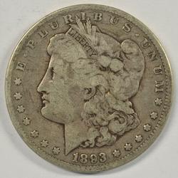 Handsome 1893-CC Morgan Silver Dollar. Nice circ
