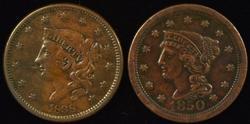 Sharp 1838 & 1850 US Large Cents