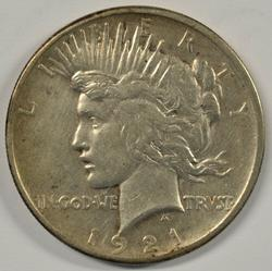 Scarce 1921 Peace Silver Dollar. Key date